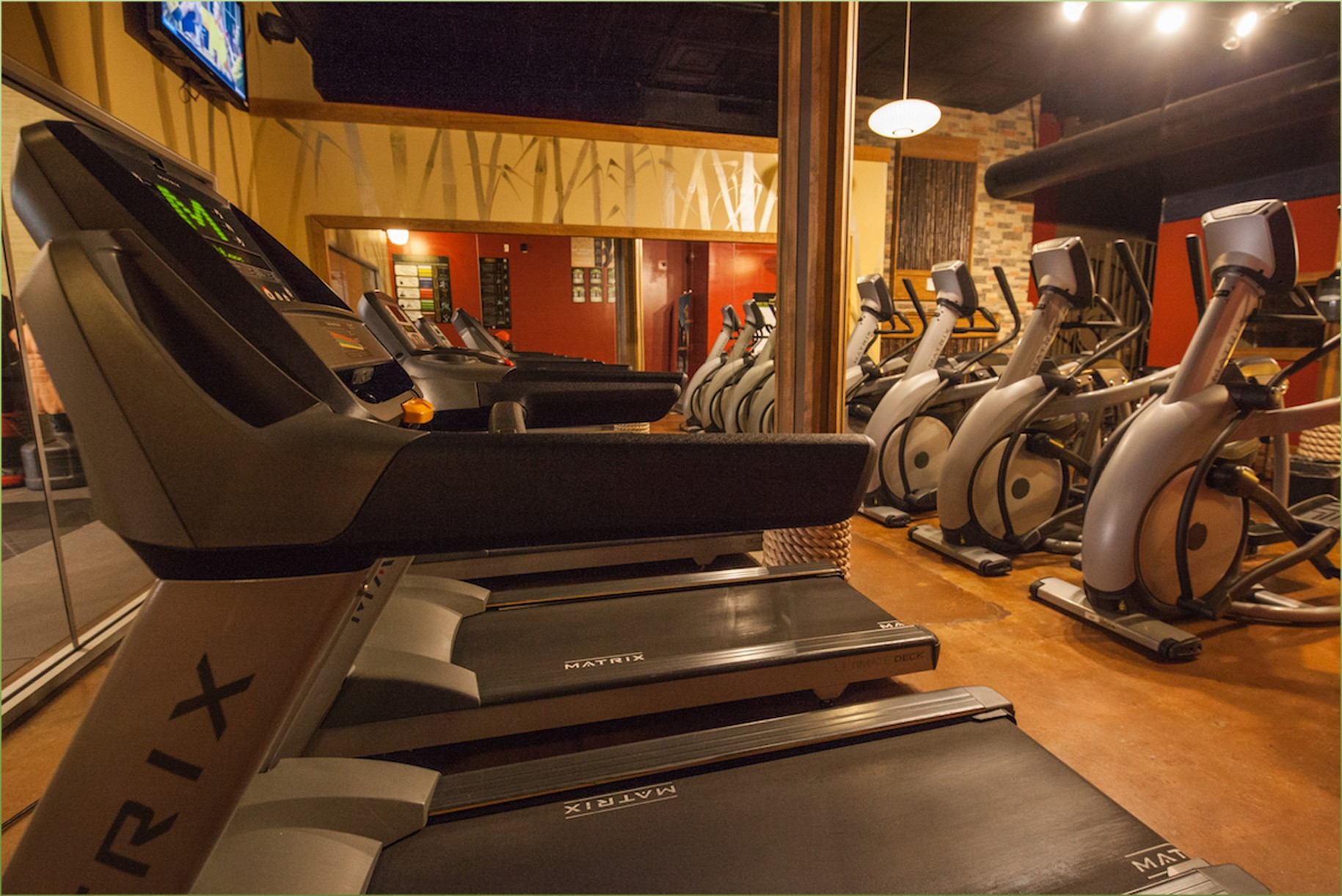 Gym with treadmills and exercise bikes