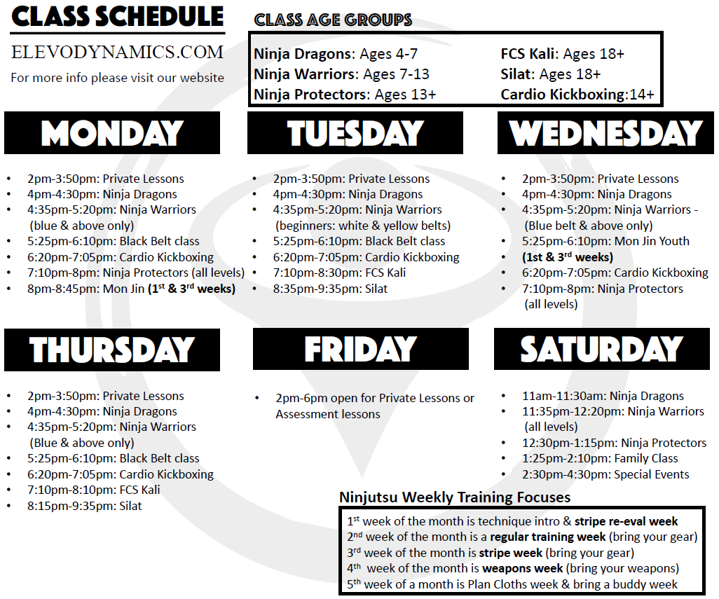Weekly Class Schedule for Elevo Dynamics